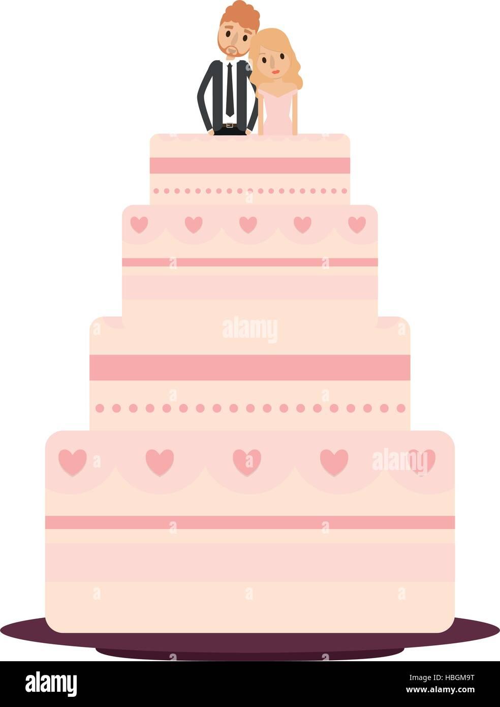 Delicious Wedding Cake Couple Vector Stock Photos & Delicious ...
