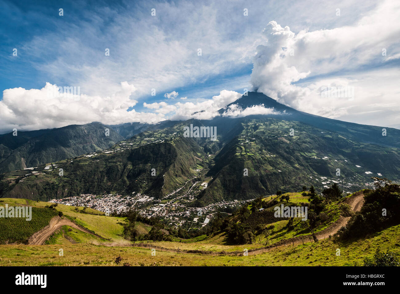 Eruption of a volcano Tungurahua, Cordillera Occidental of the Andes of central Ecuador, South America - Stock Image