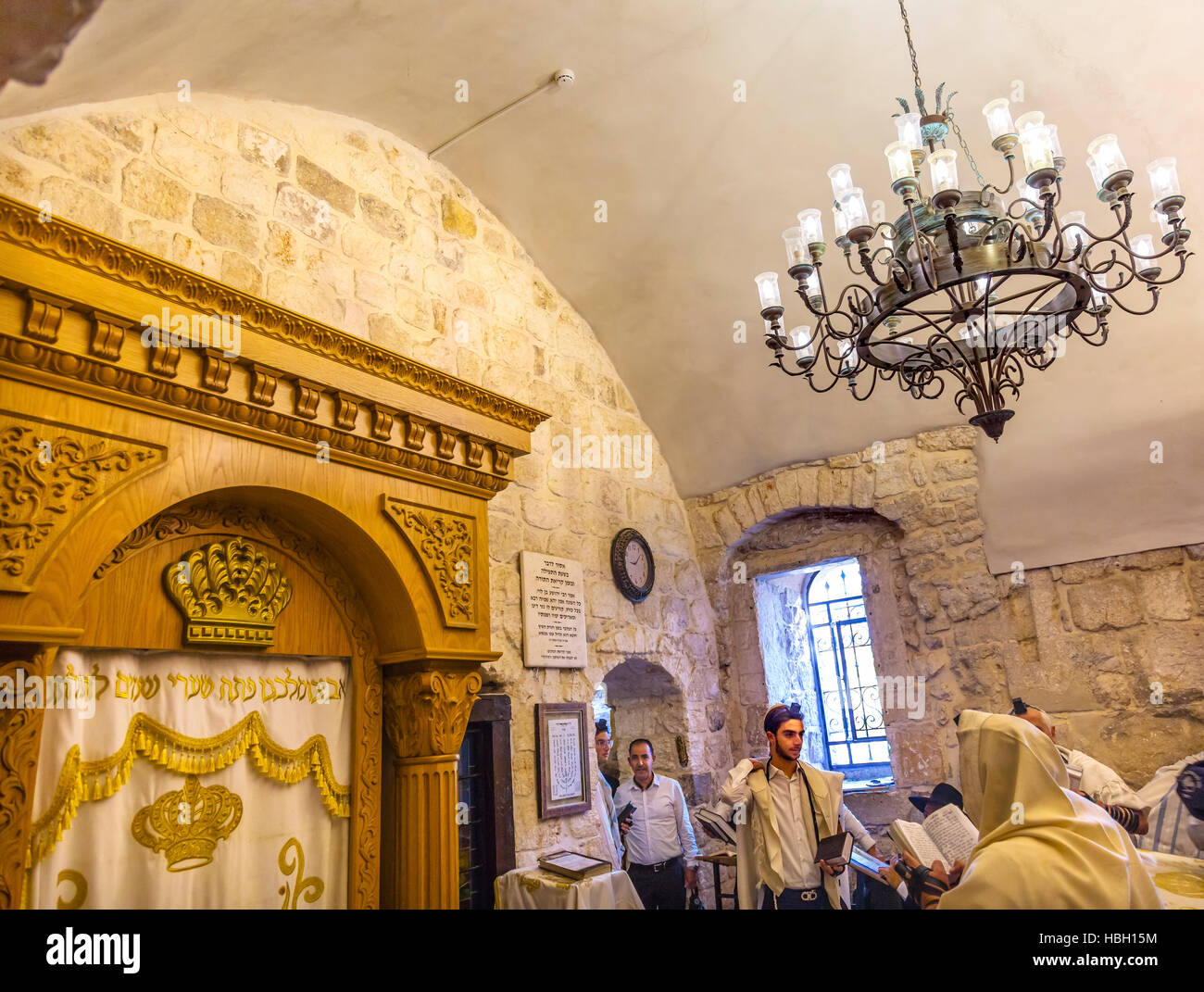 Orthodox Bar Mitzvah King David's Tomb Crusader Building Jerusalem Israel.  Site identified during 11th Century - Stock Image