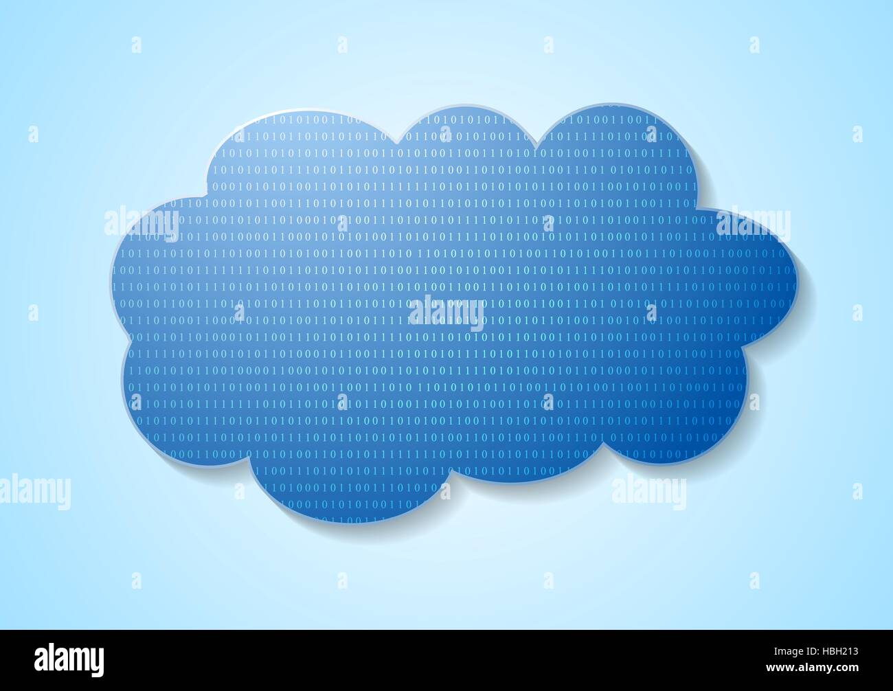 Binary code system and blue cloud Stock Photo