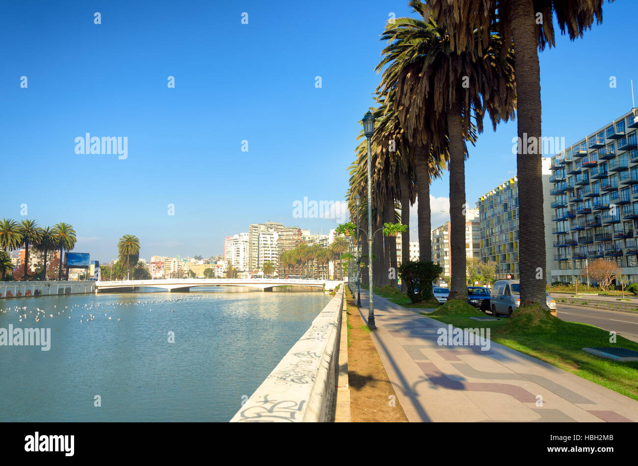 Walk or bicycle your way along the esplanade in Vina del Mar, Chile - Stock Image