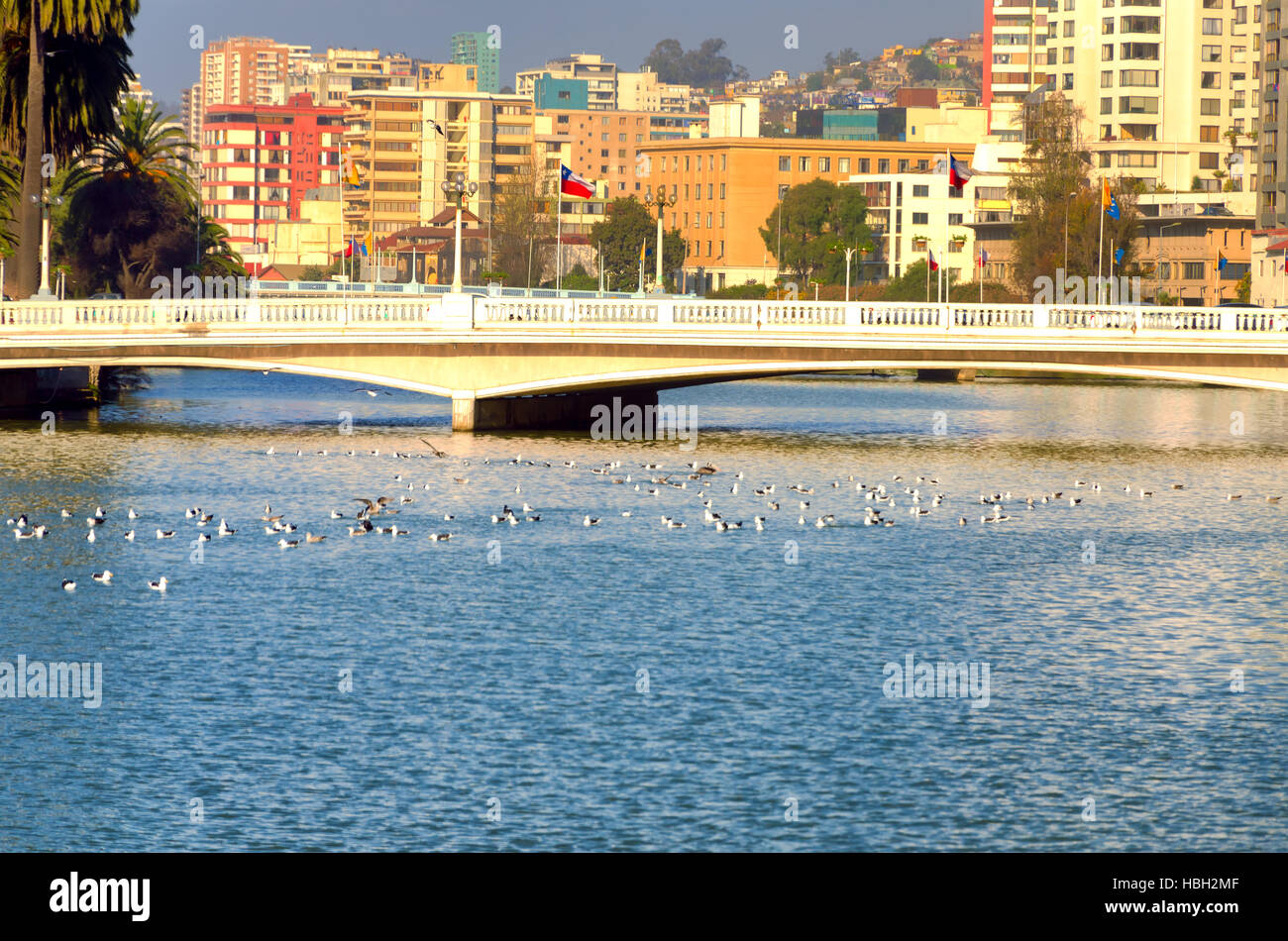 Modern buildings provide a colorful backdrop for a low bridge in Vina del Mar, Chile - Stock Image
