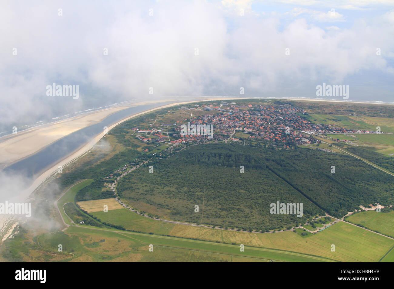 Aerial shot Langeoog Is., Germany Stock Photo