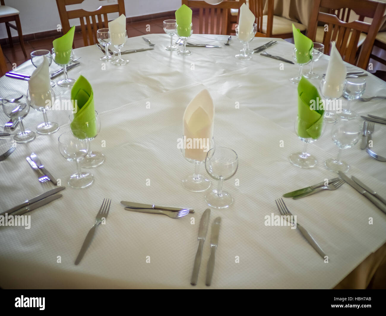 Restaurant table setup - Stock Image