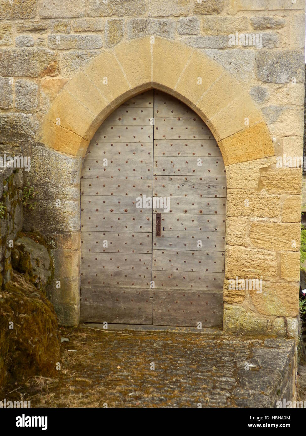 Medieval Arched Double Doors - Stock Image