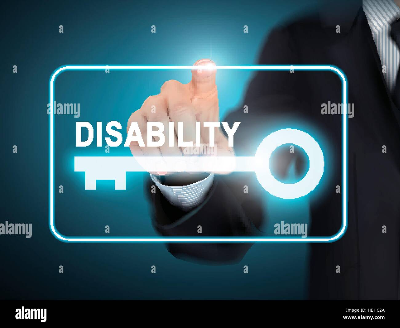 male hand pressing disability key button over blue abstract background - Stock Image
