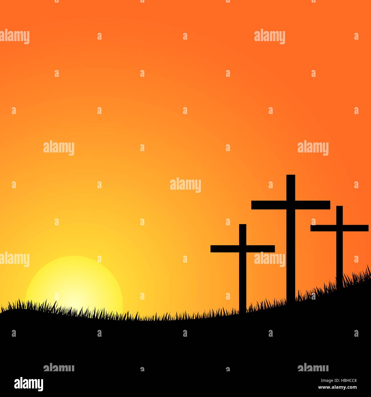 Crosses silhouette in the top of a mountain at sunset - Stock Vector