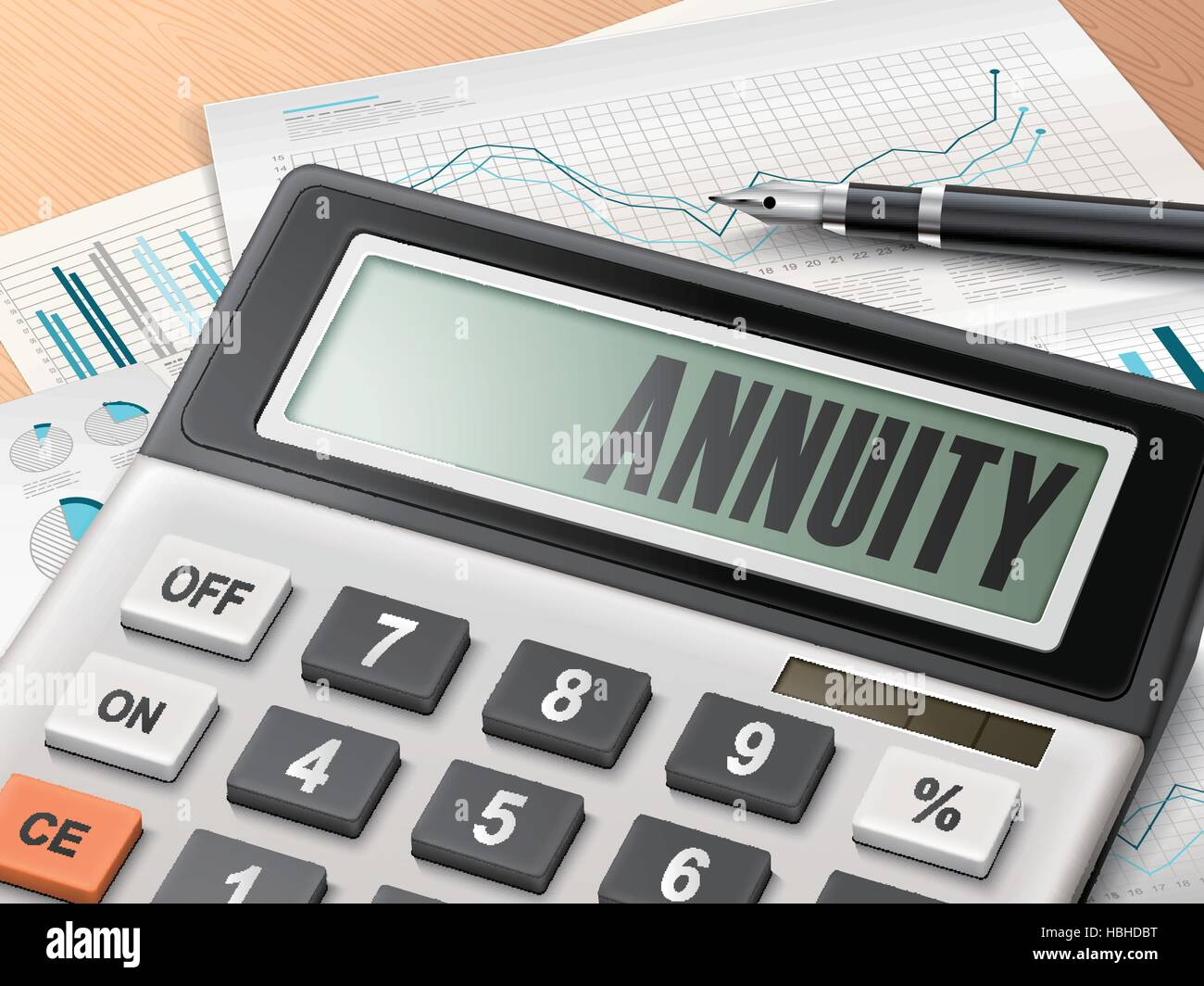 calculator with the word annuity on the display stock vector art