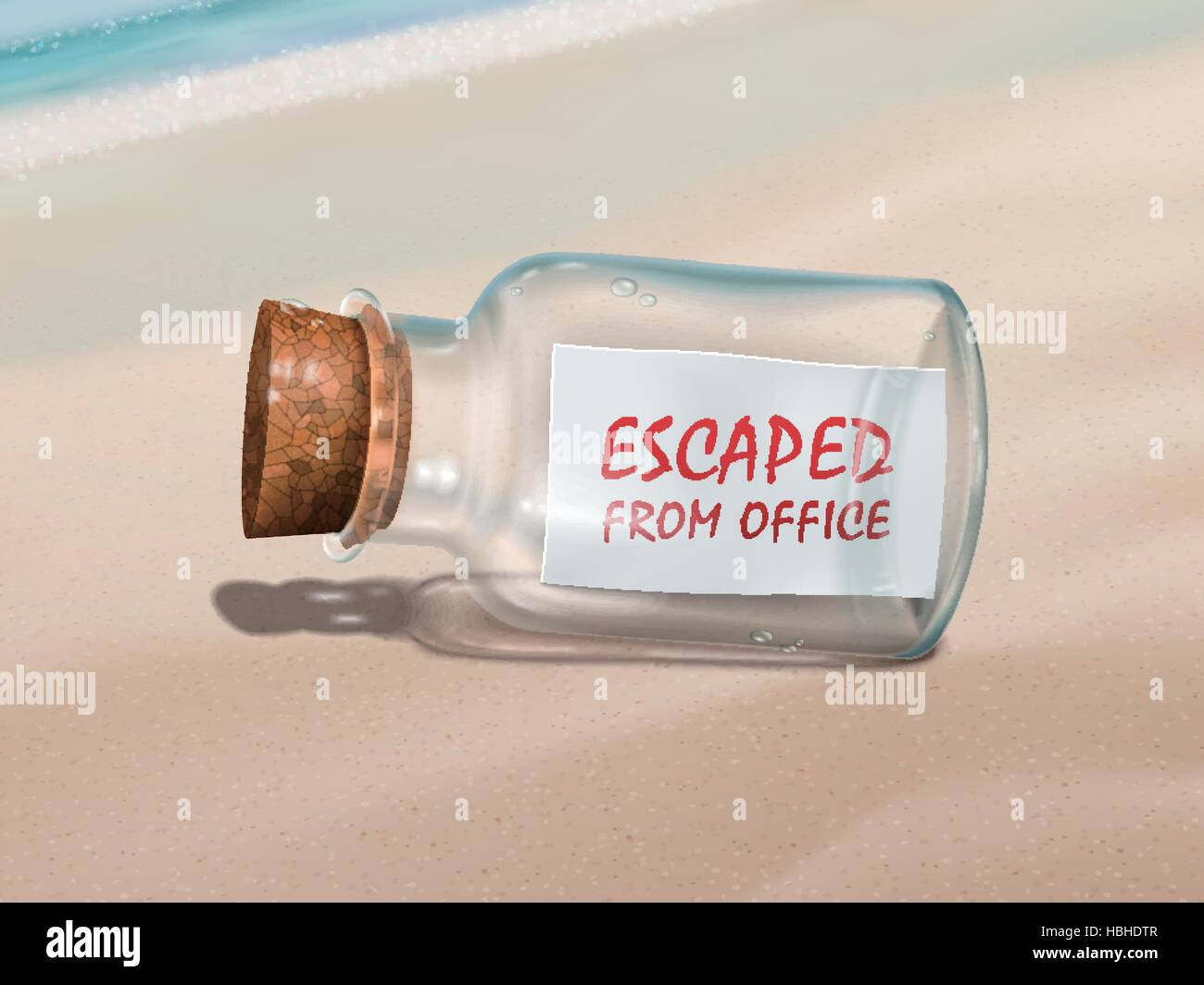 escaped from office message in a bottle isolated on beautiful beach - Stock Vector