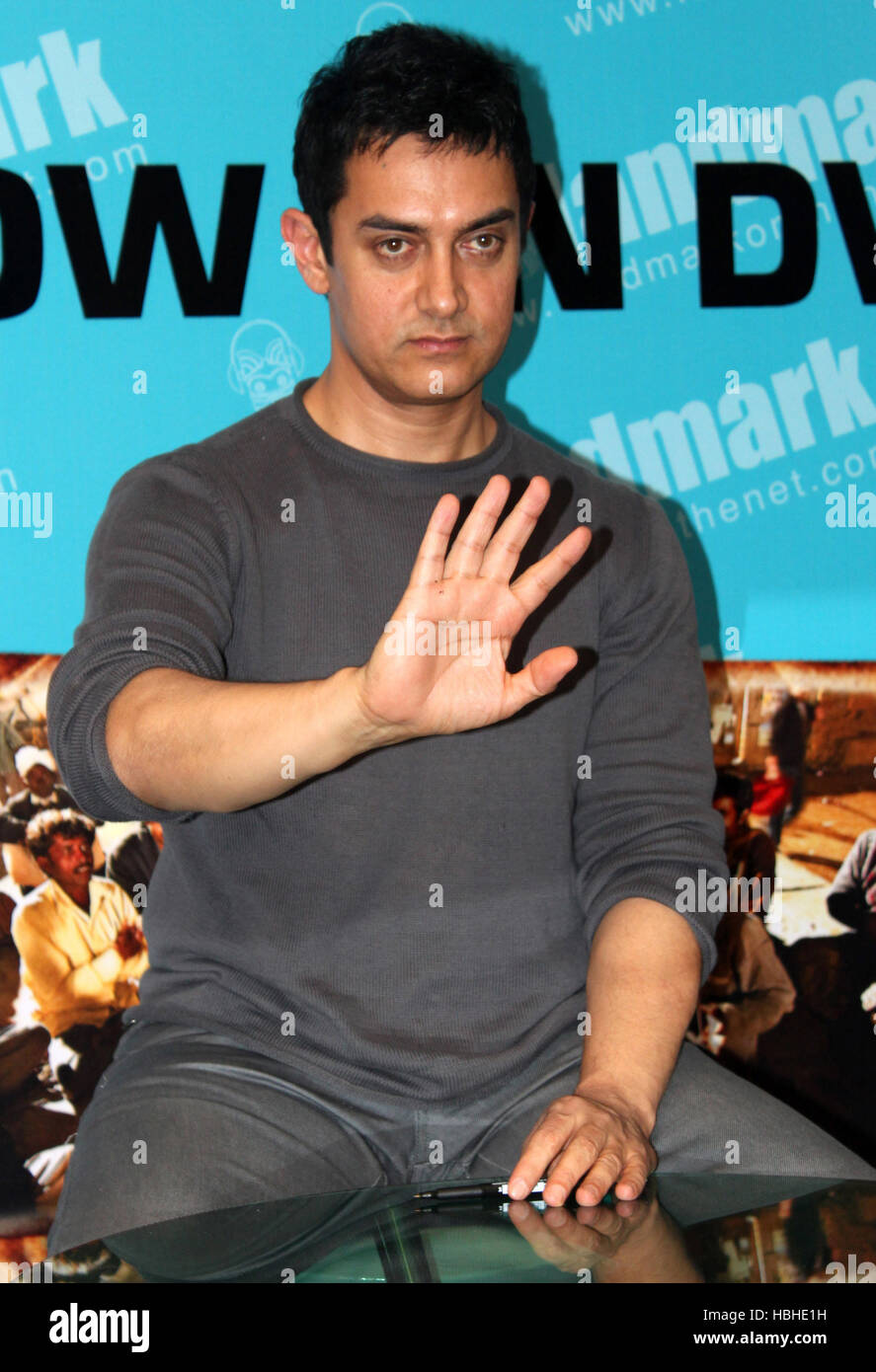 Bollywood actor Aamir Khan gestures during the launch of the DVD of movie Peepli Live in Mumbai, India on November - Stock Image