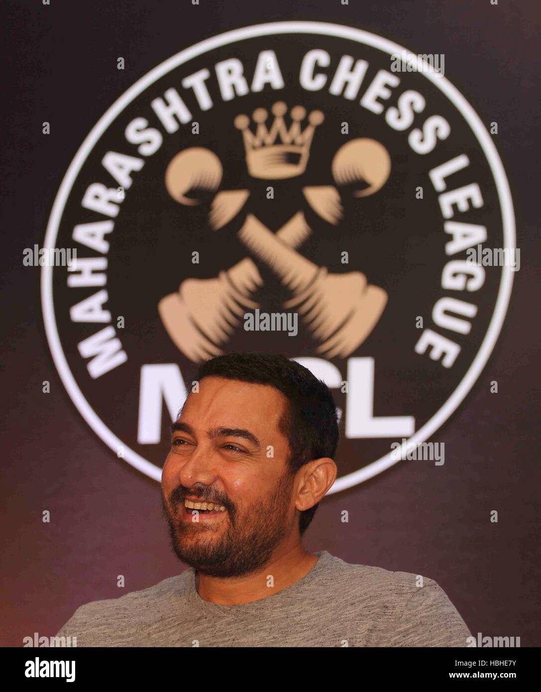 Bollywood actor Aamir Khan during the announcement of 3rd Edition of Maharashtra Chess League (MCL) in Mumbai - Stock Image