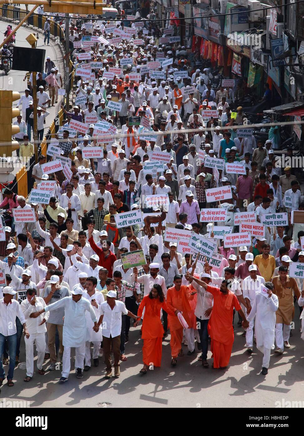 Members Bishnoi society placards silent really against Rajasthan High court acquittal Salman Khan Chinkara poaching - Stock Image