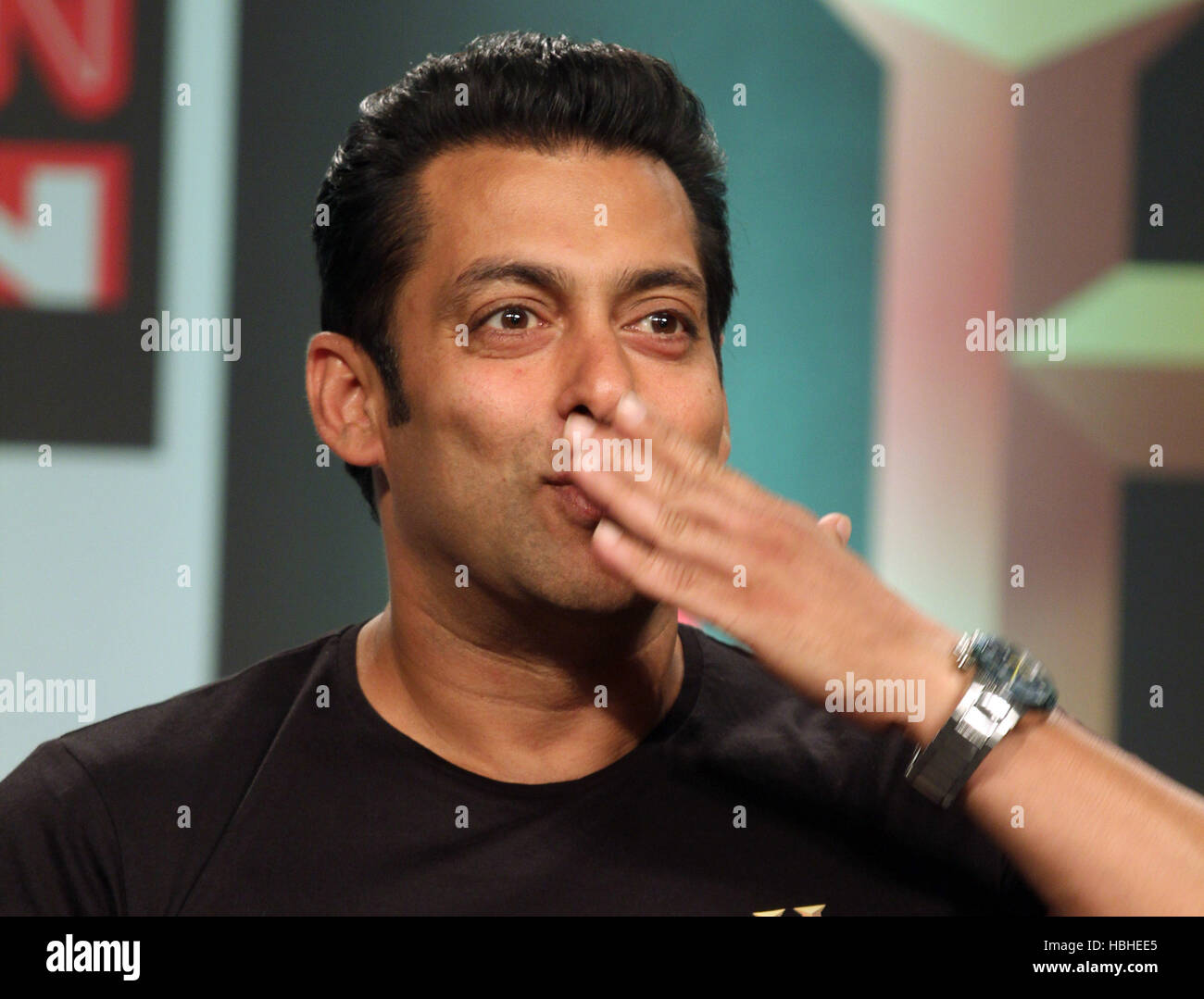 Bollywood actor Salman Khan gestures during the launch of HISTORY TV18's three channels in Mumbai , India - Stock Image