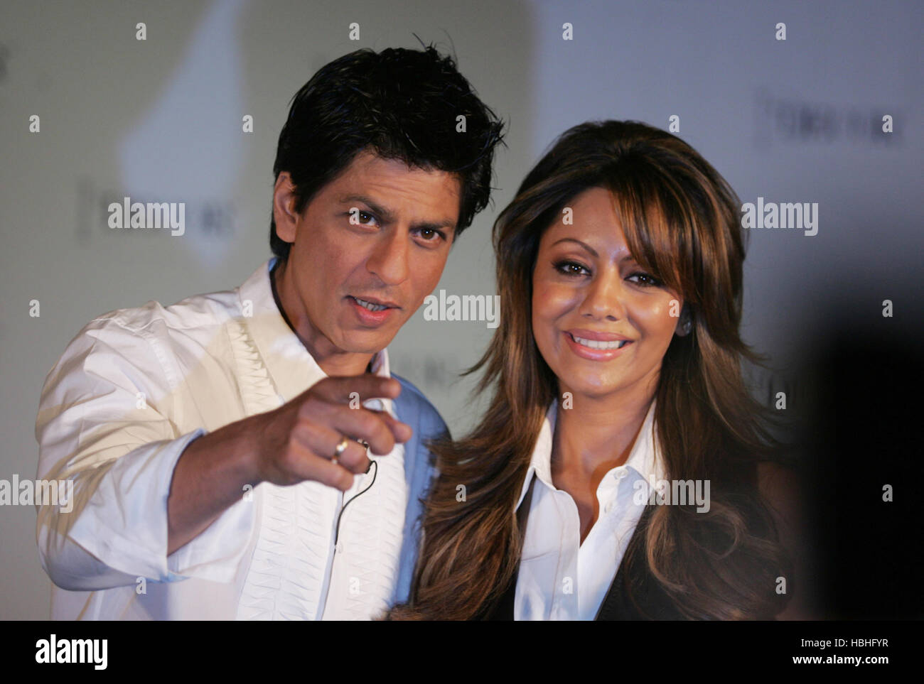 Bollywood actor Shah Rukh Khan gestures Gauri Khan brand ambassadors D Décor during launch D Décor fashion - Stock Image