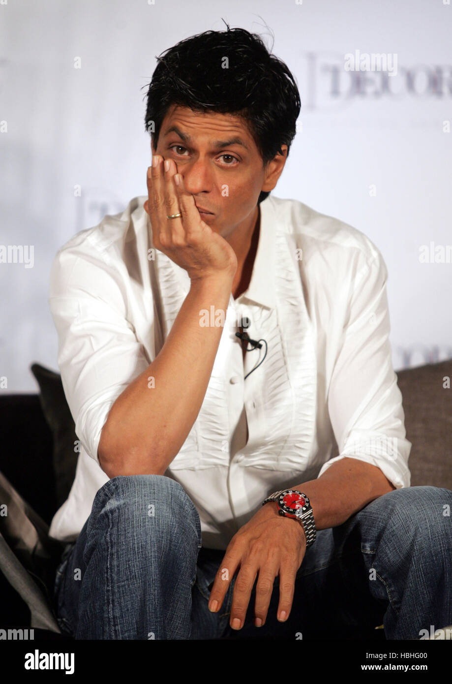 Bollywood actor Shah Rukh Khan brand ambassadors D Décor, speaks during launch D Décor fashion Indian homes Mumbai Stock Photo