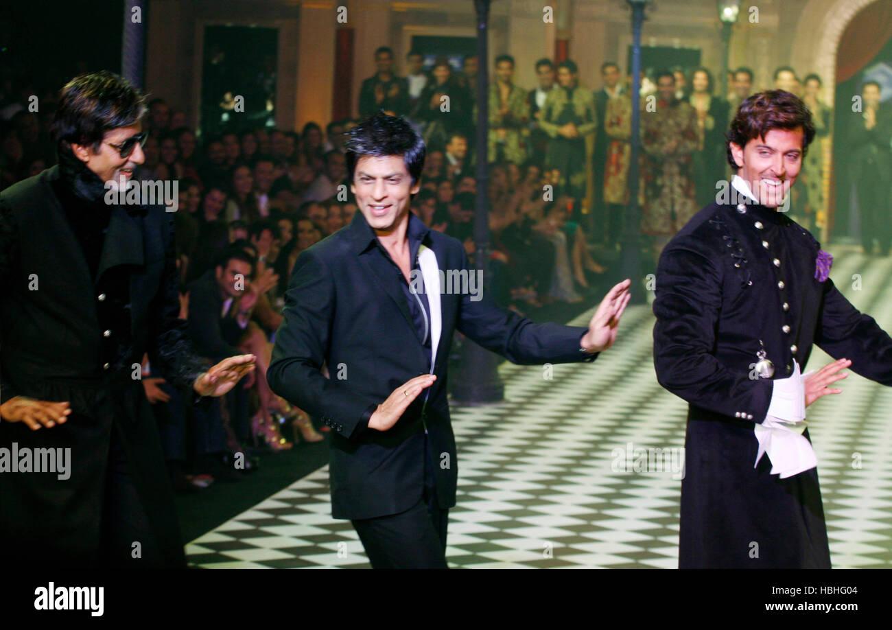 Bollywood stars Amitabh Bachchan Shahrukh Khan and Hrithik Roshan
