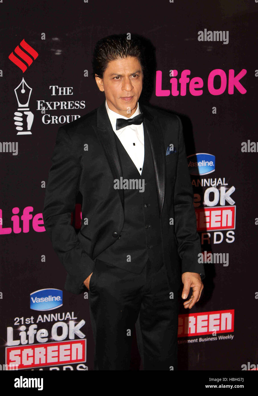 Bollywood actor Shahrukh Khan during the 21st Annual Life OK Screen Awards in Mumbai, India on January 14, 2015. Stock Photo