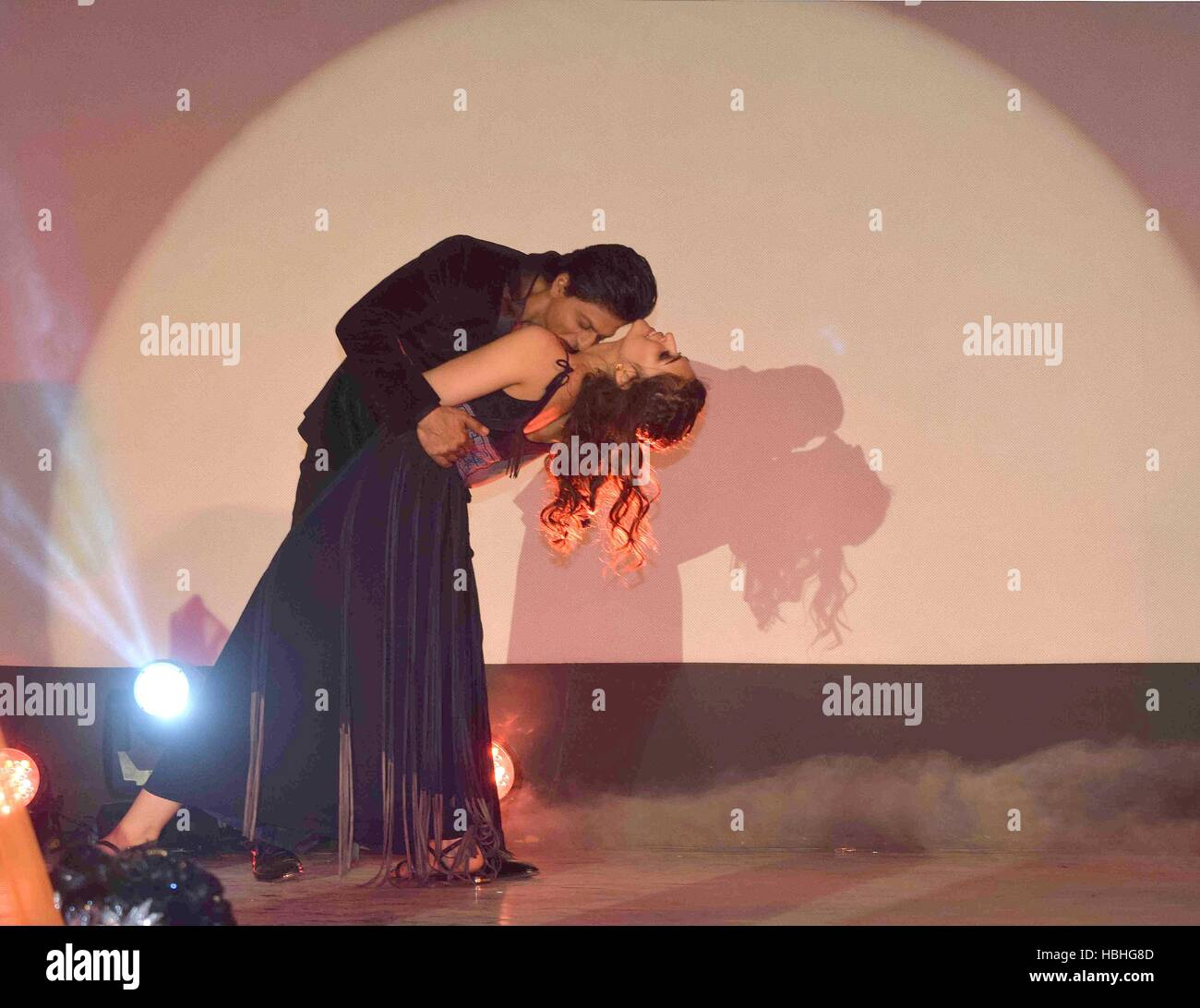 Shah Rukh Khan kissing her neck, Indian Bollywood actor and actress Stock  Photo - Alamy