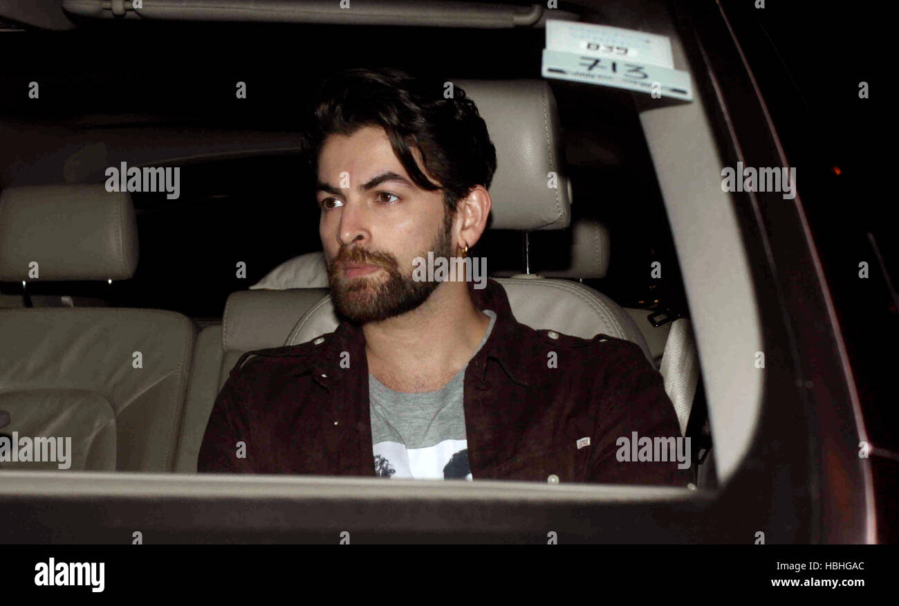 Bollywood actor Neil Nitin Mukesh arrives for Shah Rukh Khan's party at his bungalow Mannat, in Mumbai Stock Photo