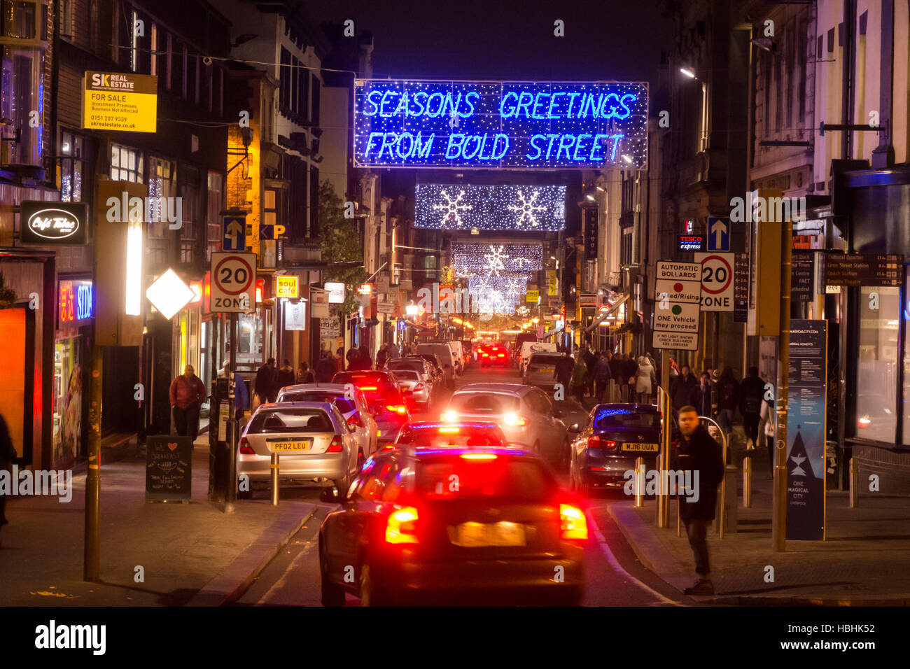 Bold Street, a vibrant multicultural area in Liverpool at night. - Stock Image
