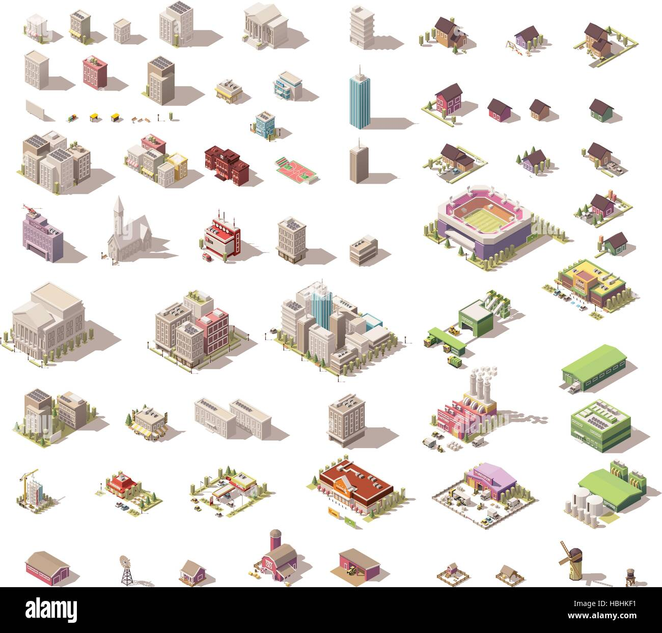 Vector isometric low poly buildings and houses - Stock Vector