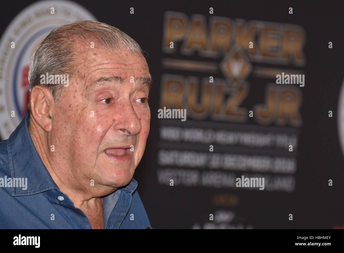 Auckland, New Zealand. 06th Dec, 2016. Andy Ruiz's promoter Bob Arum, Press conference ahead of the WBO world - Stock Image