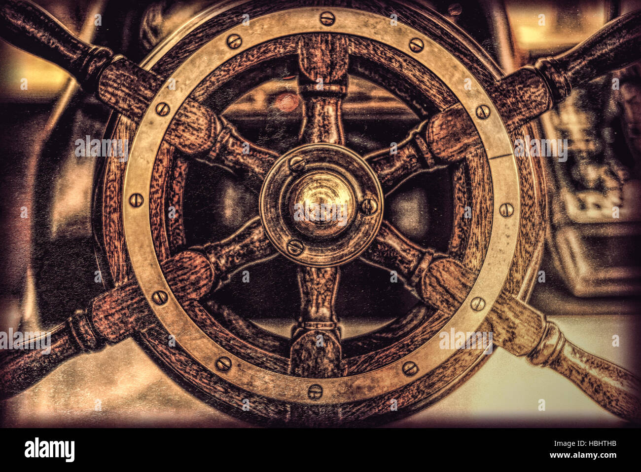 Ship steering wheel close up - Stock Image