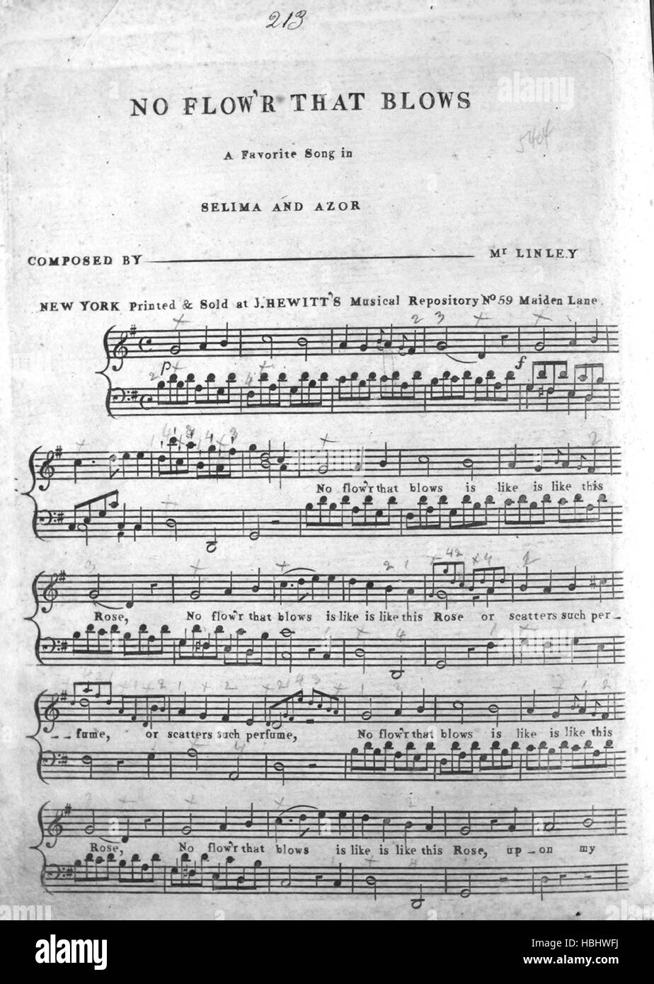Sheet music cover image of the song 'No Flow'r That Blows A Favorite Song in Selima and Azor', with original authorship Stock Photo