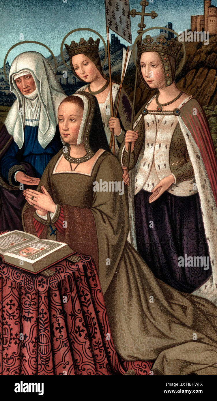 Anne of Brittany, Queen of France, Surrounded by her Patron Saints, circa 1500 Stock Photo