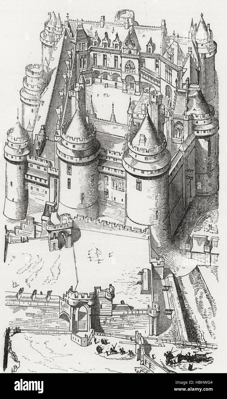 View overlooking the Castle of Pierrefonds (beginning of the Fifteenth Century) - Stock Image