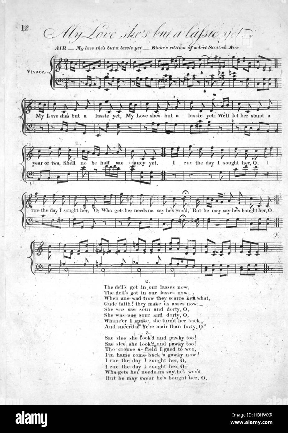 Sheet music cover image of the song 'How Lang and Dreary is the Night Air  Cauld Kail in Aberdeen Blake's - Stock Image