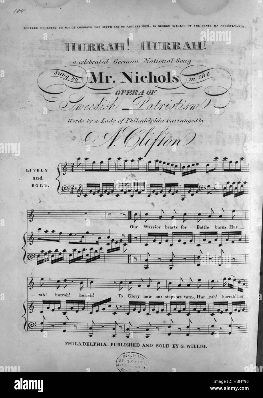 Sheet music cover image of the song 'Hurrah! Hurrah! A