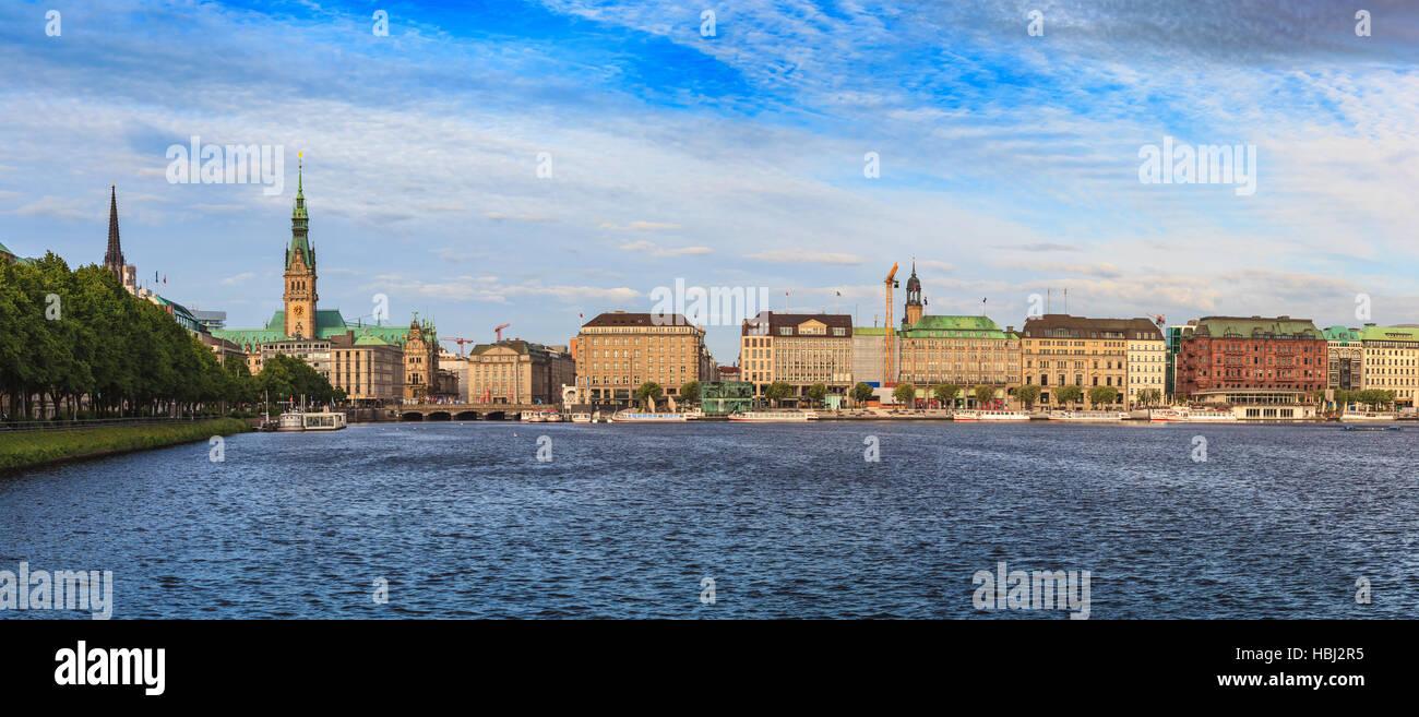 Hamburg panorama city skyline, Germany - Stock Image