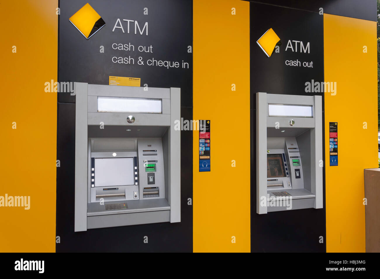 Commonwealth Bank ATM machines in Boundary Street, South Brisbane, Brisbane, Queensland, Australia - Stock Image
