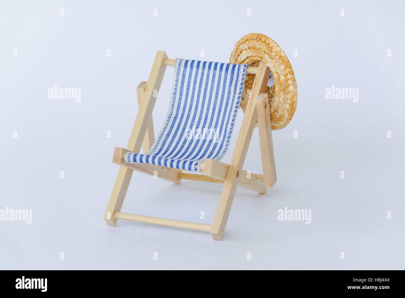 Blue White Striped Summer Deck Chair