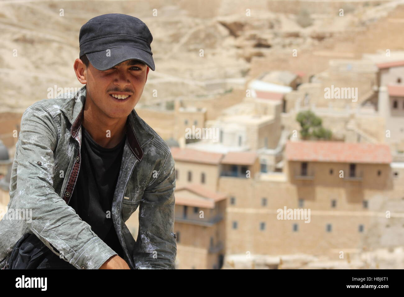 A young Bedouin boy near The Holy Lavra of Saint Sabbas the Sanctified, known in Arabic as Mar Saba, a Greek Orthodox Stock Photo