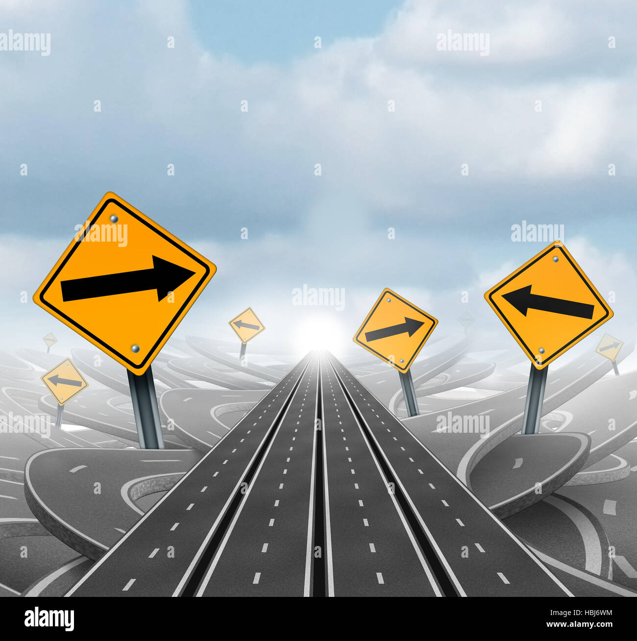 Many roads to success and clear group strategy and solutions for business leadership with straight multiple paths - Stock Image