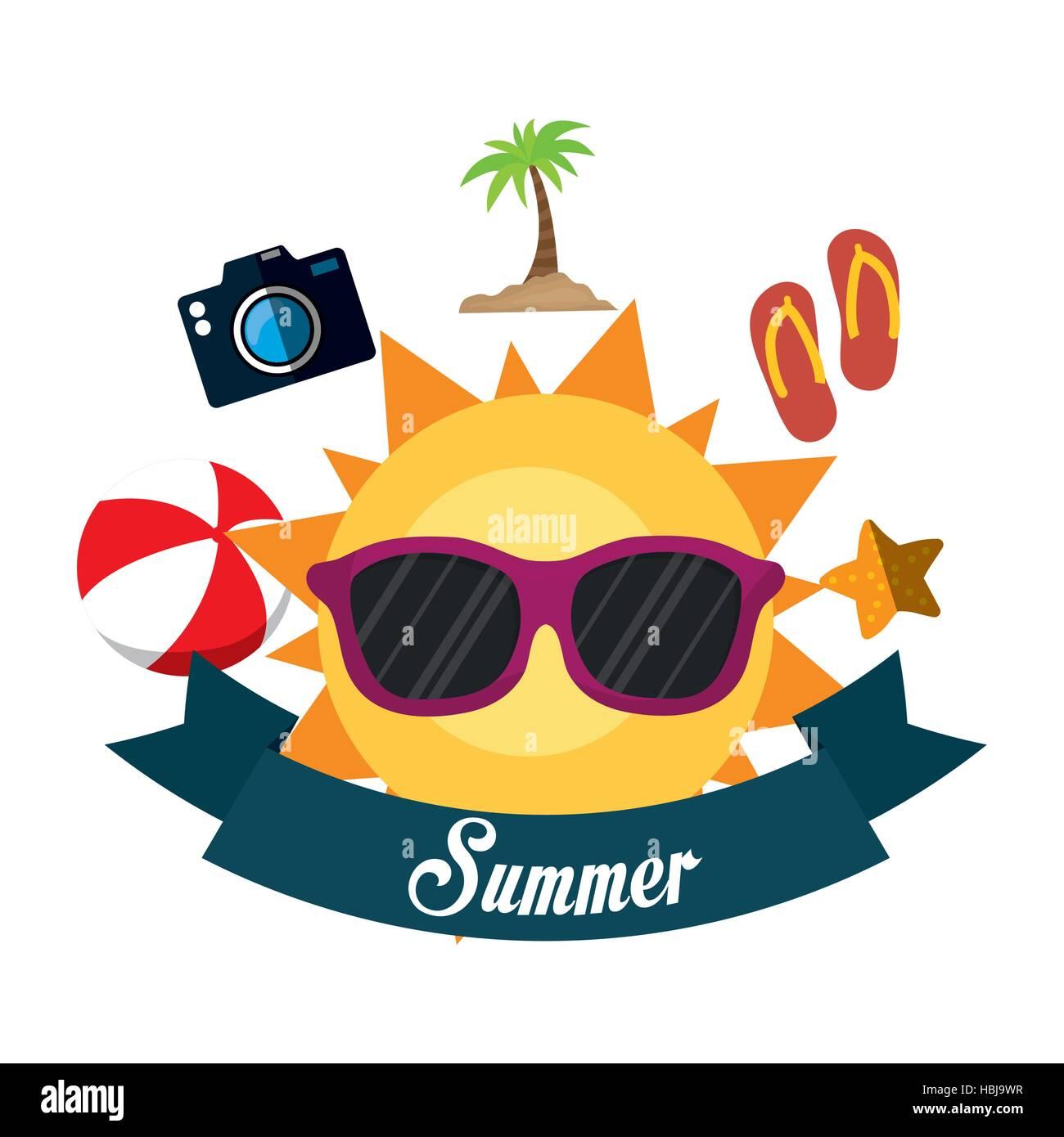 f6a0bca81f7f poster summer fun sun glasses ball flip flop camera banner vector  illustration eps 10