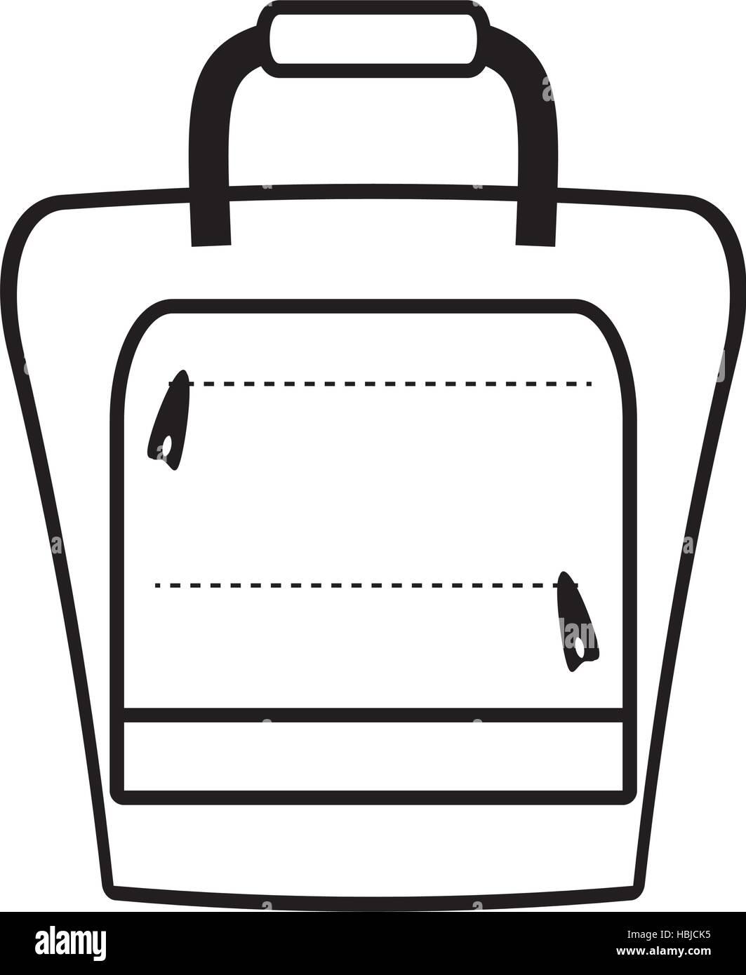 outline suitcase packback travel bag tourist vector