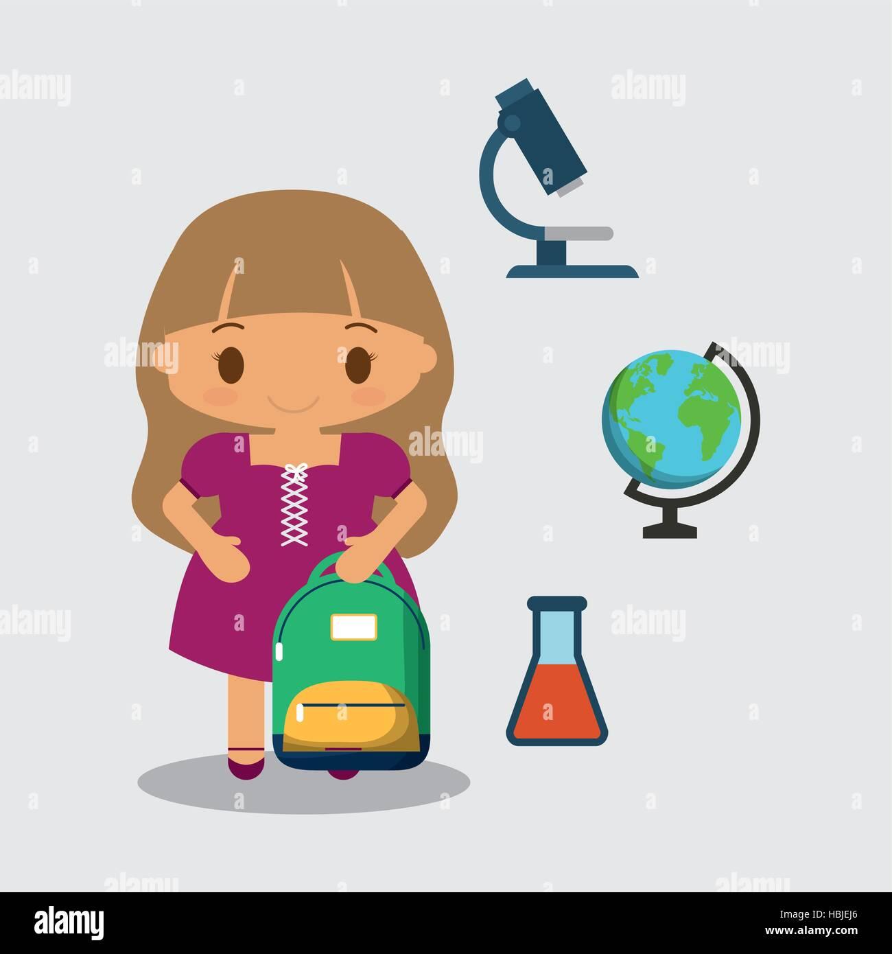 Cartoon girl purple dress bag and tube test globe microscope vector cartoon girl purple dress bag and tube test globe microscope vector illustration eps 10 ccuart Images