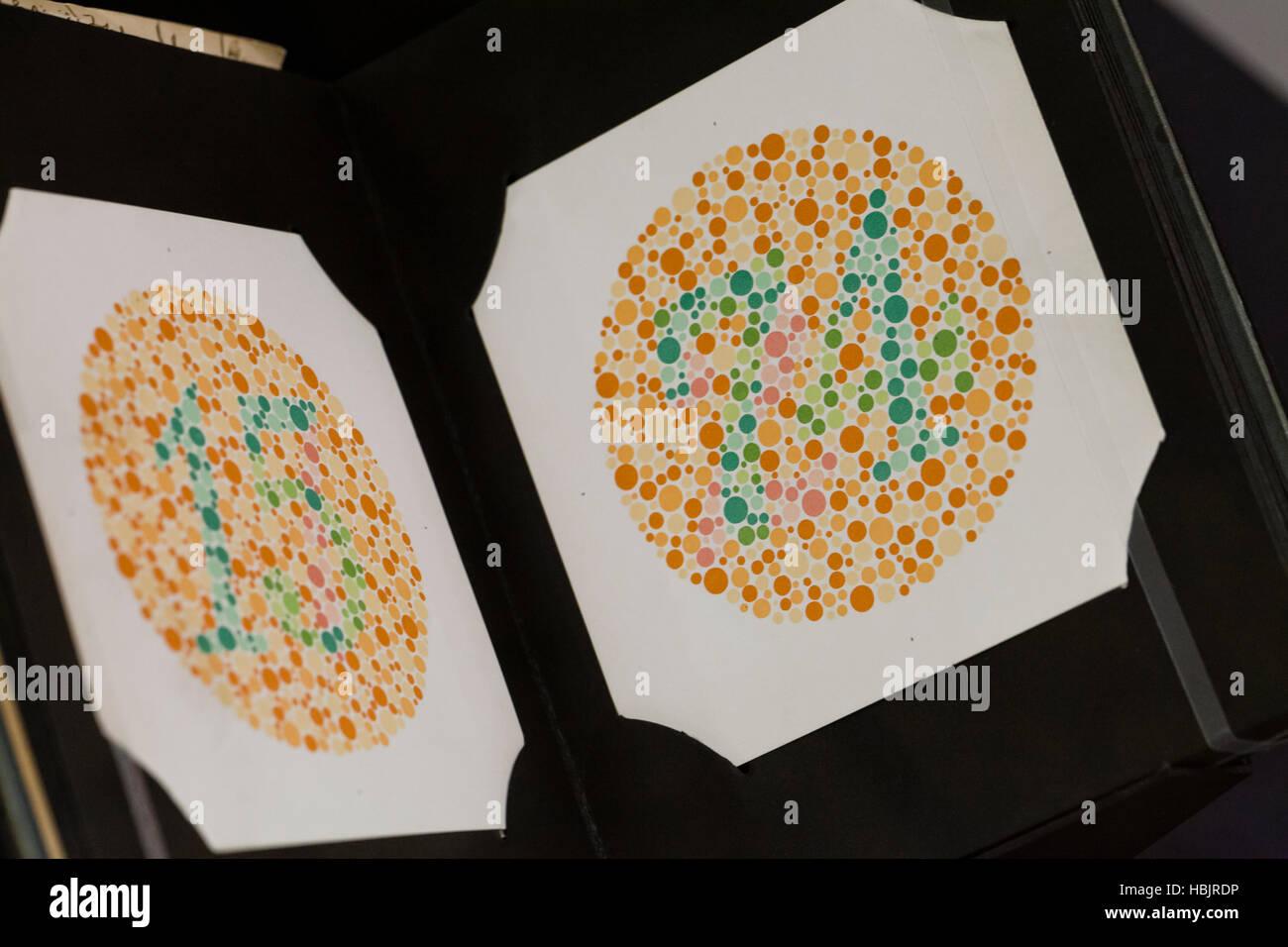 Ishihara color perception test chart - USA - Stock Image