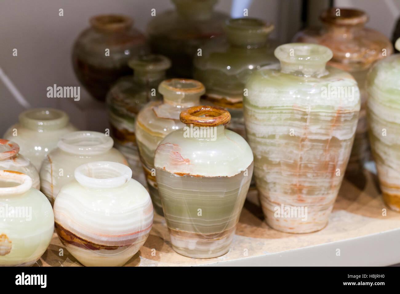 Onyx stone vases - USA - Stock Image