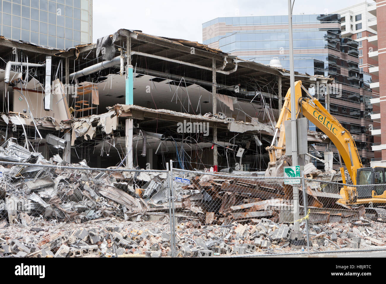 Urban building demolition site - Arlington, Virginia USA - Stock Image