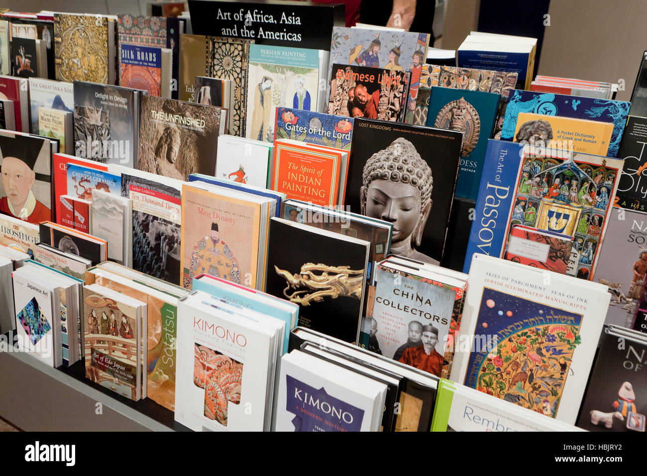 Asian art books section at bookstore - USA - Stock Image