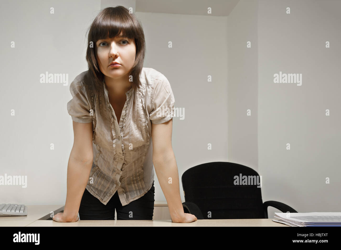 Serious clerk - Stock Image