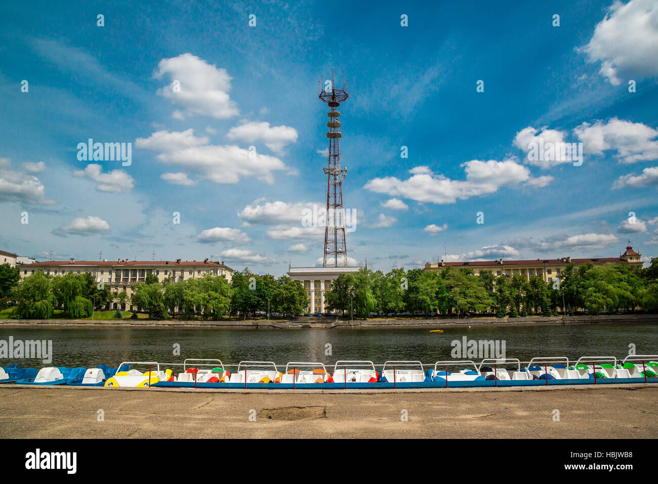 Telecommunication tower in Minsk - Stock Image