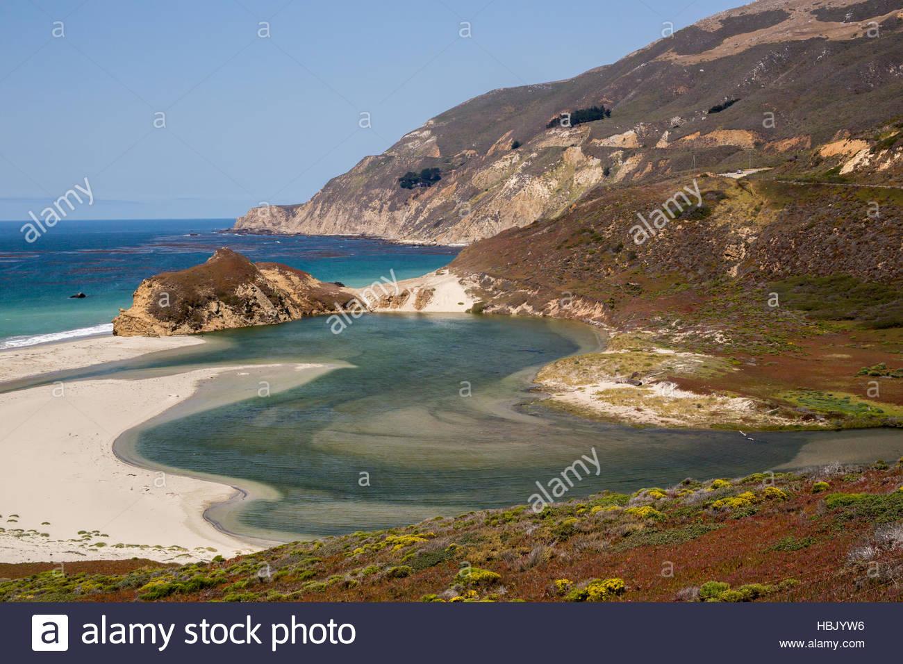 Little Sur River, Big Sur, California, USA - Stock Image