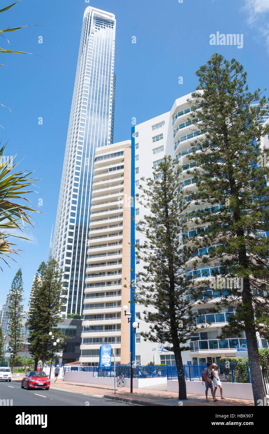 Peppers Soul Surfers Paradise building from The Esplanade, Surfers Paradise, City of Gold Coast, Queensland, Australia - Stock Image