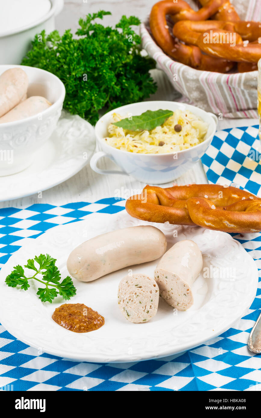 Bavarian sausage with pretzel, sweet mustard and beer Stock Photo