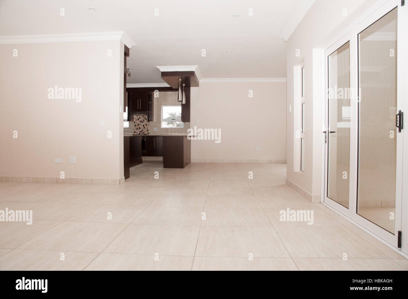 Open Plan Living Room and Kitchen - Stock Image